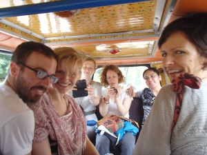 Our merry band on the tuk tuk to town