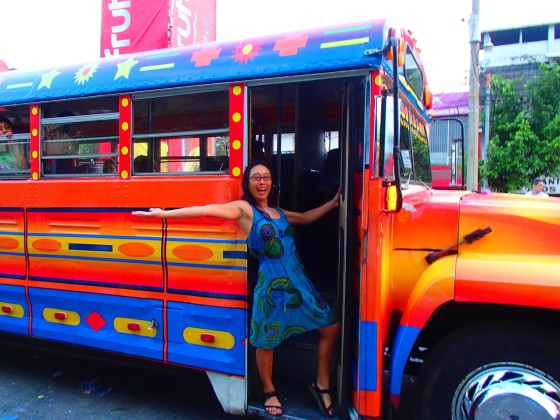 By the Gallo Party Bus, appropriately a Guatemalan 'chicken' bus!