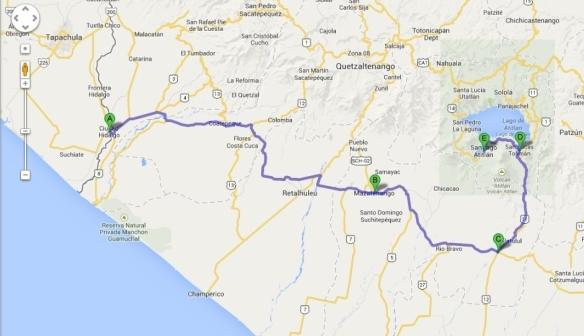 Our route from the Mexican-Guatemalan border to Lake Atitlan with some of the places we pass through - a) Ciudad Hidalgo (Mex)/Tecum Uman (Guate); b) Mazate; c) Cocales; d) San Lucas; e) Santiago