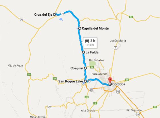 sierras de cordoba map route